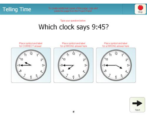 telling time 45 min clocks 3 choices