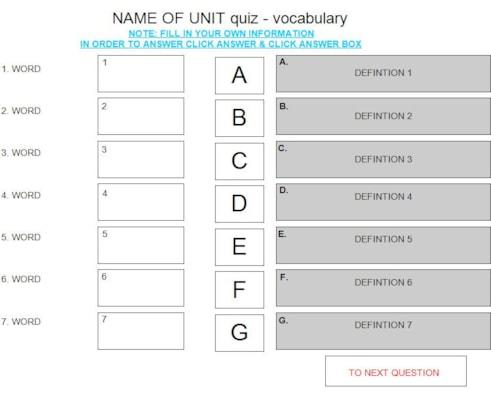matching vocab quiz template 2