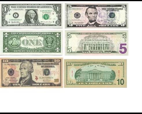 1, 5, 10 dollar bills