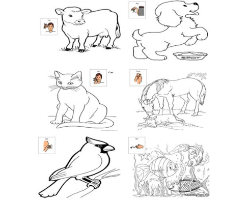 Sign Language Stamp Coloring Pages | Sign language phrases, Sign ... | 393x491