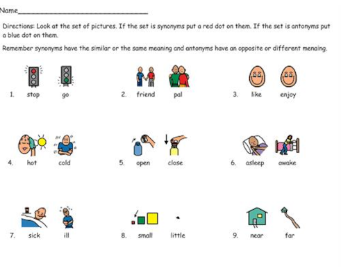 Synonyms and Antonyms Worksheet