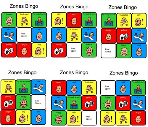 graphic about Zones of Regulation Printable identified as BINGO Playing cards Printable