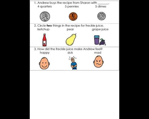 freckle juice quiz chapters 1 3 pg 3 of 3 boardmaker online
