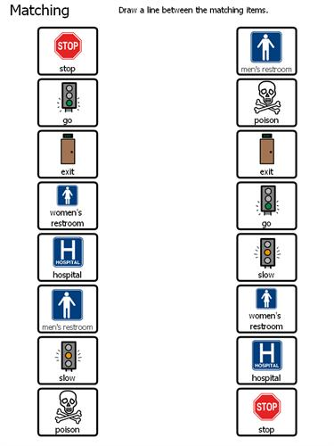 Safety Signs Matching Worksheet 1
